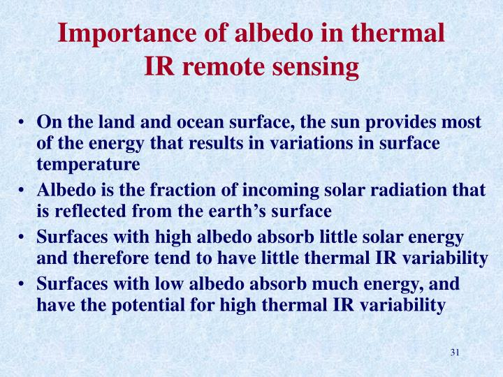 Importance of albedo in thermal IR remote sensing