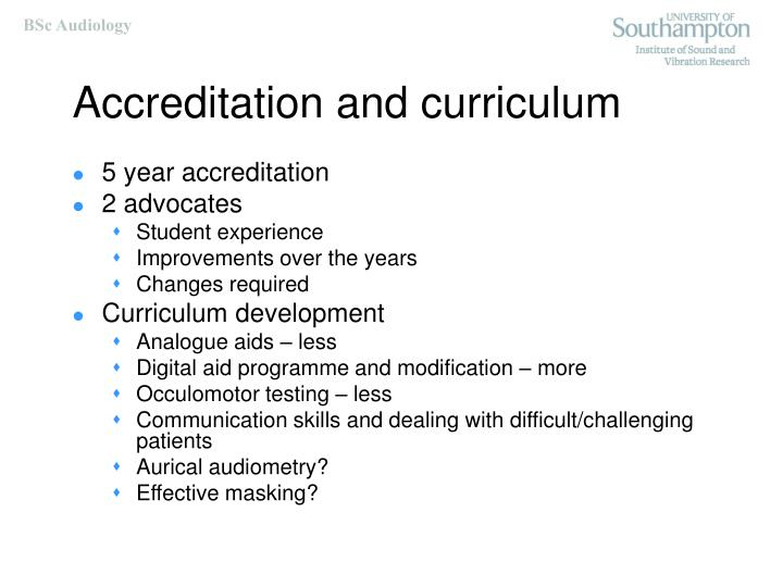 Accreditation and curriculum
