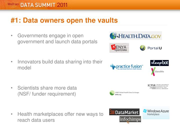 #1: Data owners open the vaults