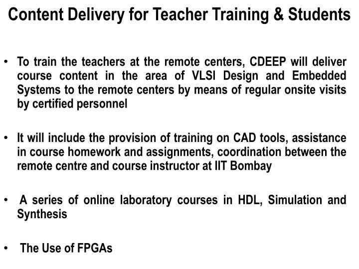 Content Delivery for Teacher Training & Students