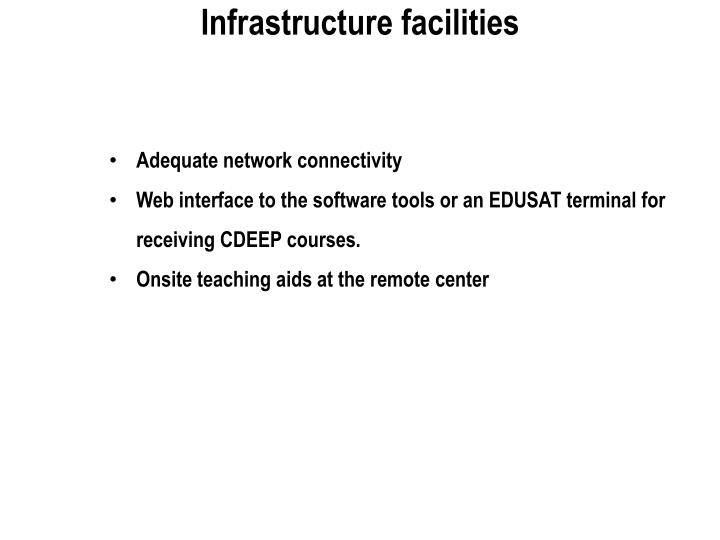 Infrastructure facilities