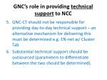 gnc s role in providing technical support to ncc
