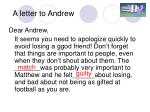 a letter to andrew