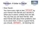 revision a letter to sarah