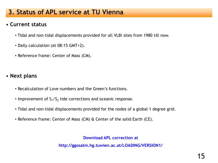 3. Status of APL service at TU Vienna