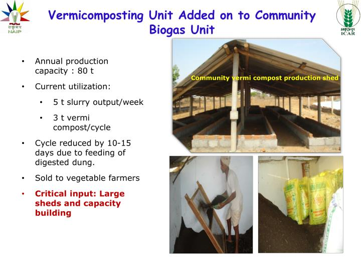 Vermicomposting Unit Added on to Community Biogas Unit