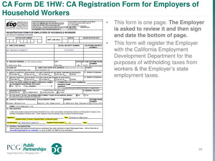 CA Form DE 1HW: CA Registration Form for Employers of Household Workers