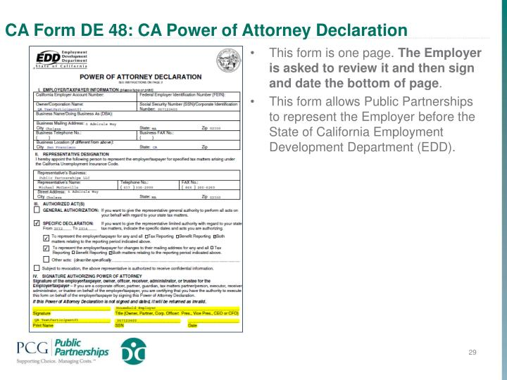 CA Form DE 48: CA Power of Attorney Declaration