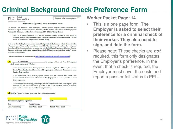 Criminal Background Check Preference Form