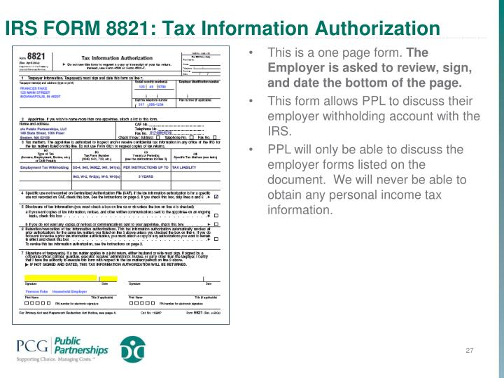IRS FORM 8821: Tax Information Authorization