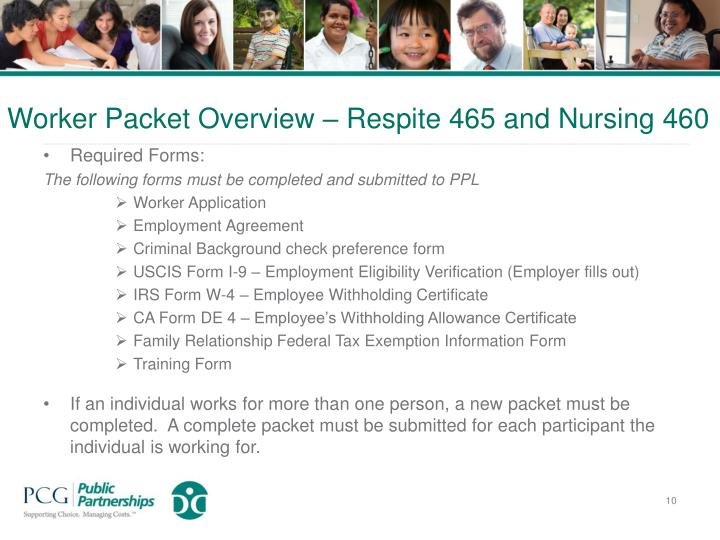 Worker Packet Overview – Respite 465 and Nursing 460