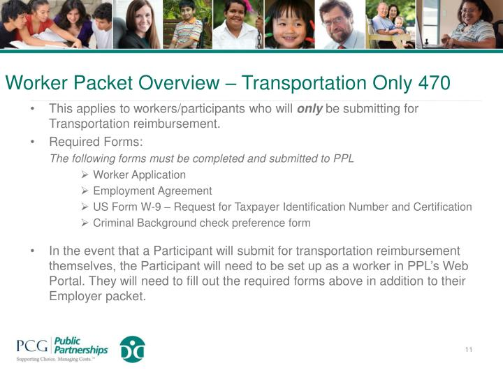 Worker Packet Overview – Transportation Only 470