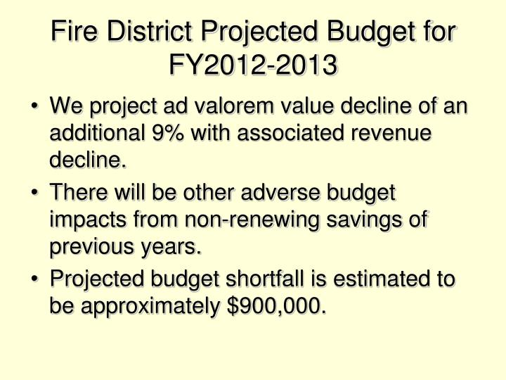 Fire District Projected Budget for FY2012-2013