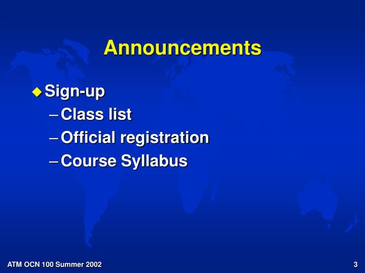 announcements n.
