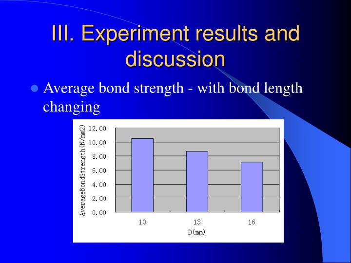 III. Experiment results and discussion