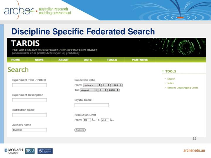 Discipline Specific Federated Search