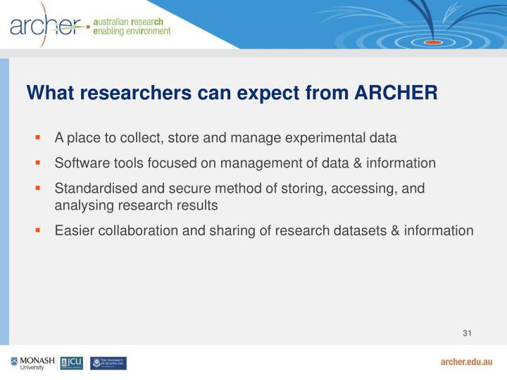 What researchers can expect from ARCHER