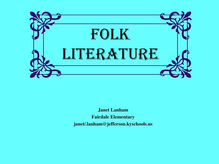 folk literature n.