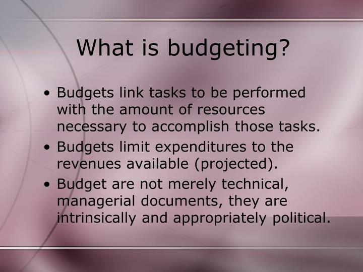budget and budgeting techniques There are two types of budgeting techniques namely traditional budgeting - targets set in the previous year, budgeting is performed, by making certain additions and deductions, to reach the present budget and zero-based budgeting - there is no reference is made to the previous year.