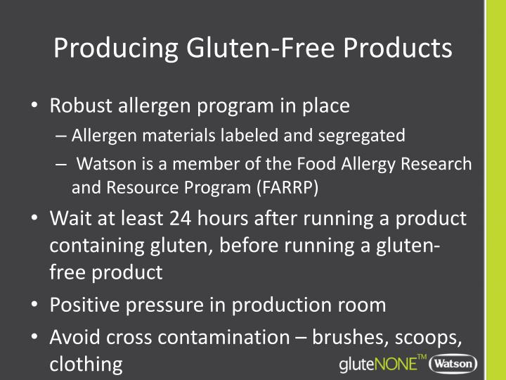 Producing Gluten-Free Products