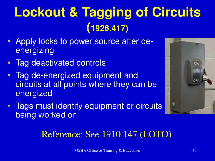 Lockout & Tagging of Circuits