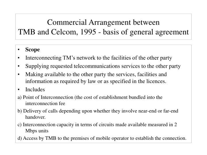 Commercial Arrangement between