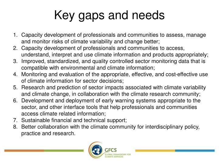 Key gaps and needs
