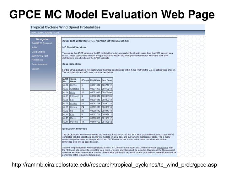 GPCE MC Model Evaluation Web Page