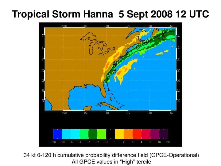 Tropical Storm Hanna  5 Sept 2008 12 UTC
