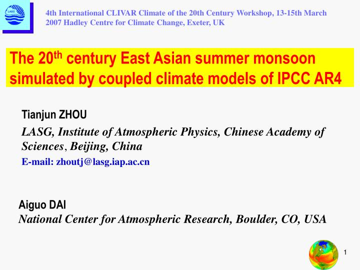 4th International CLIVAR Climate of the 20th Century Workshop