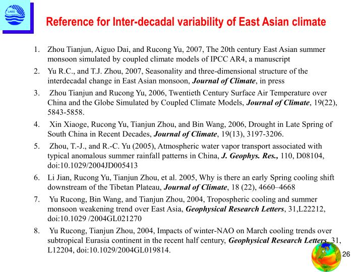 Reference for Inter-decadal variability of East Asian climate