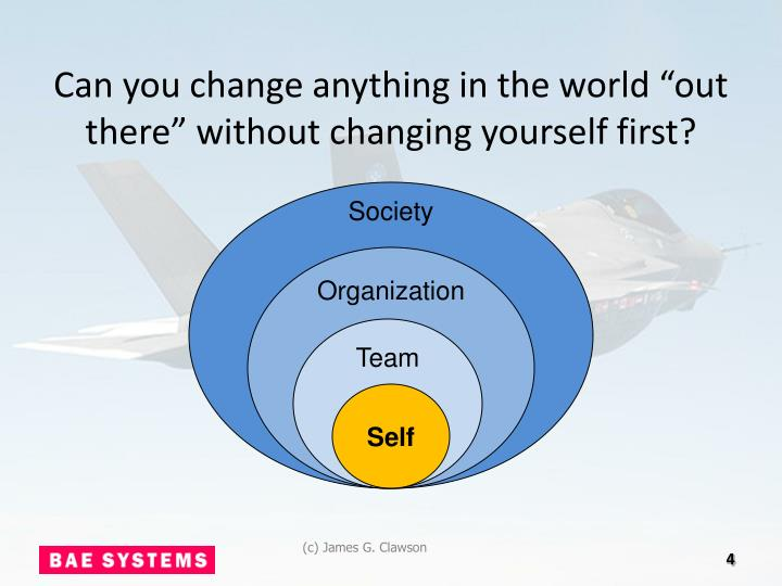 """Can you change anything in the world """"out there"""" without changing yourself first?"""