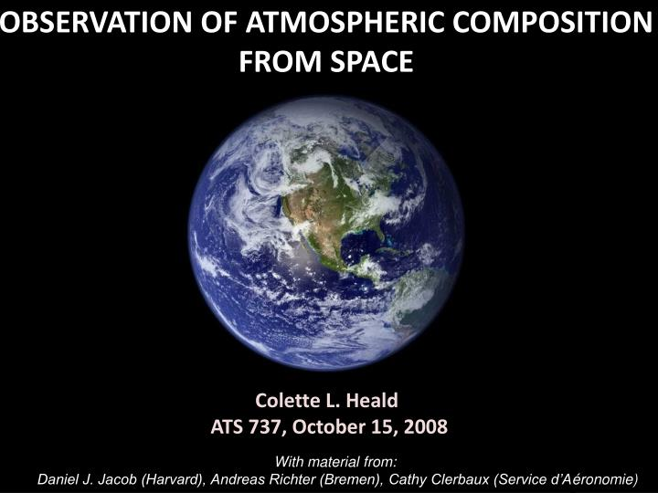 observation of atmospheric composition from space n.