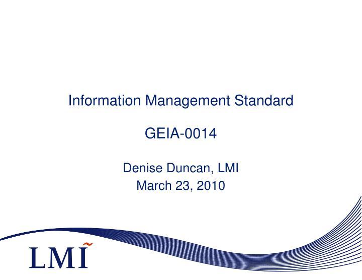 information management standard geia 0014