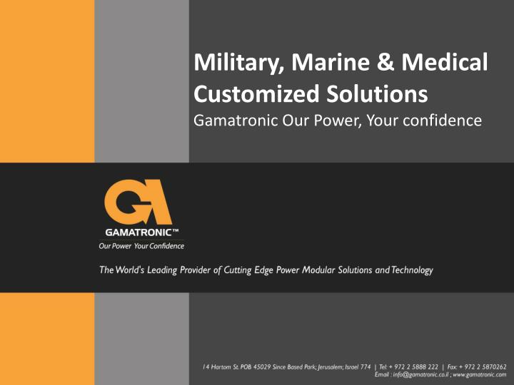 military marine medical customized solutions n.