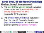 error eval of 4d flow findings