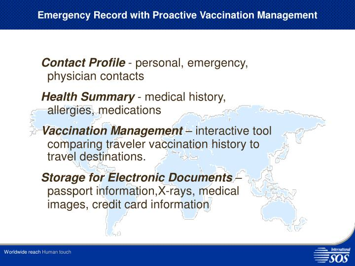 Emergency Record with Proactive Vaccination Management