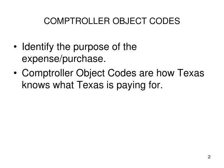 Comptroller object codes