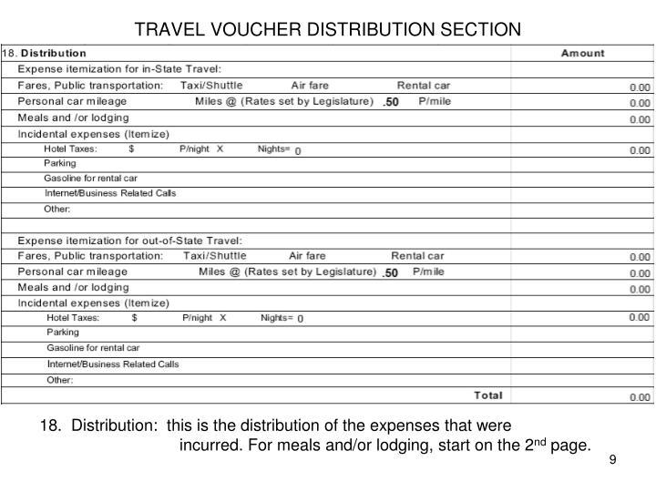 TRAVEL VOUCHER DISTRIBUTION SECTION