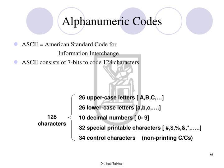 Alphanumeric Codes