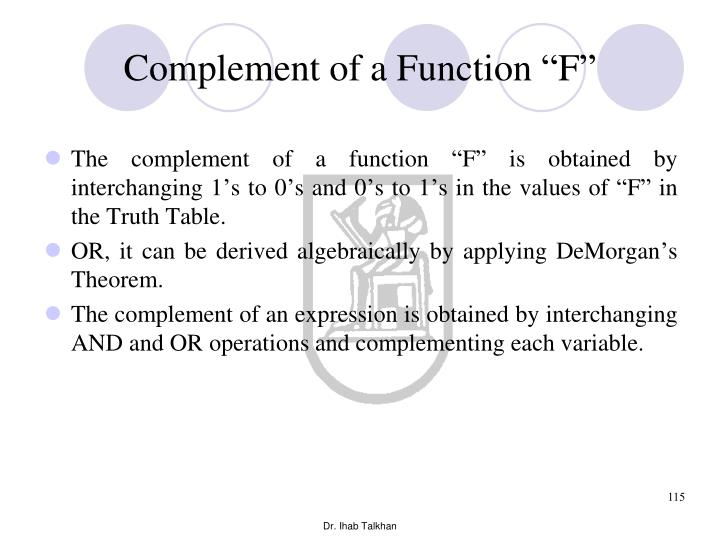 """Complement of a Function """"F"""""""