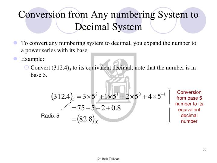 Conversion from Any numbering System to Decimal System
