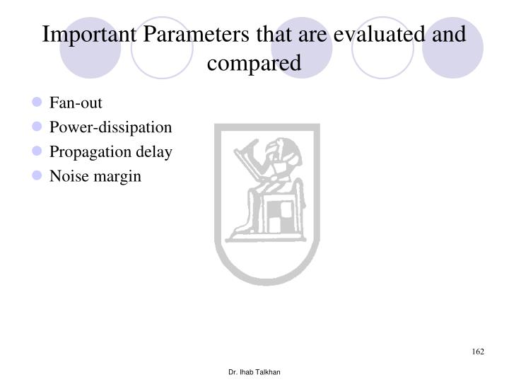 Important Parameters that are evaluated and compared
