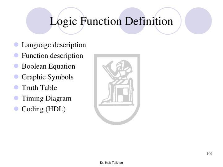 Logic Function Definition