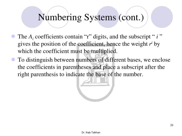 Numbering Systems (cont.)