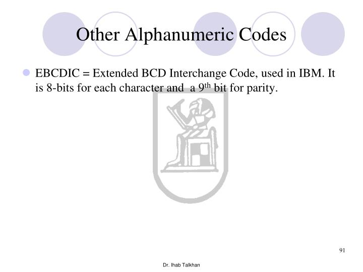 Other Alphanumeric Codes
