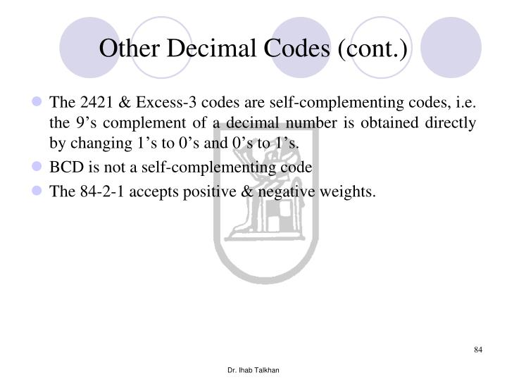 Other Decimal Codes (cont.)