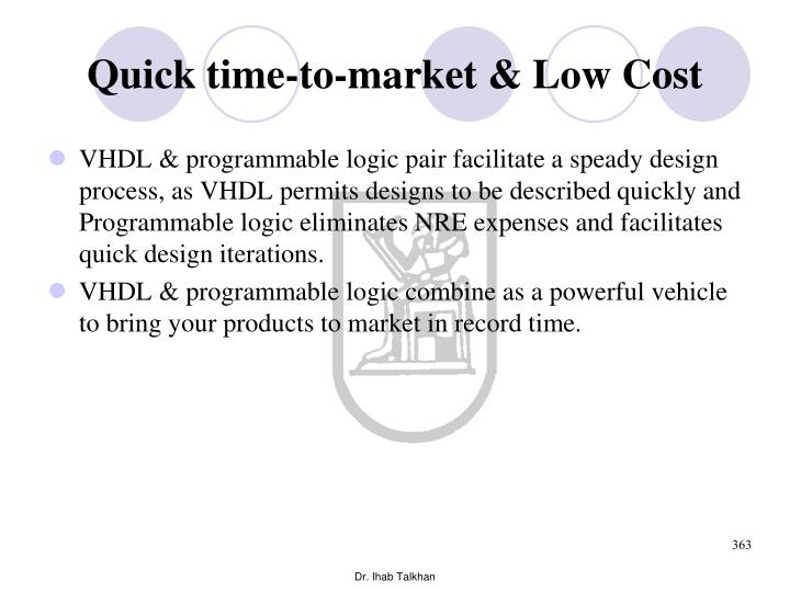 Quick time-to-market & Low Cost