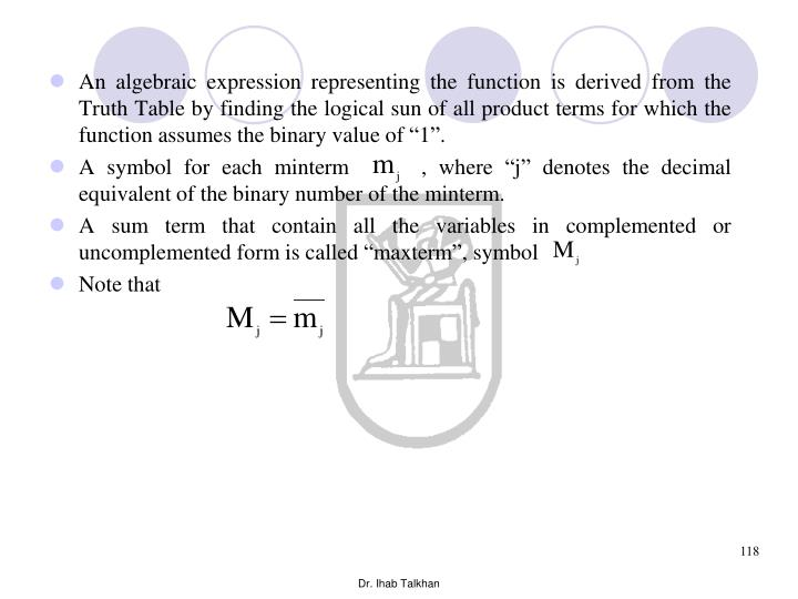 """An algebraic expression representing the function is derived from the Truth Table by finding the logical sun of all product terms for which the function assumes the binary value of """"1""""."""