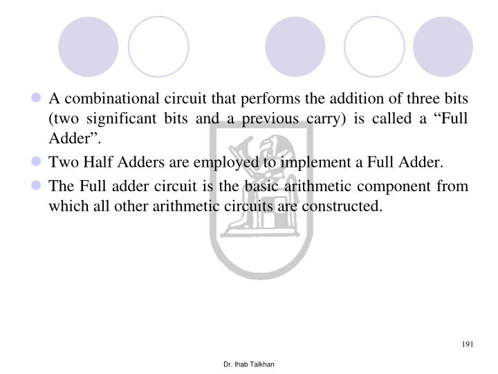 """A combinational circuit that performs the addition of three bits (two significant bits and a previous carry) is called a """"Full Adder""""."""